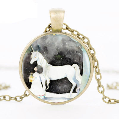 The Unicorn and Girl Pendant Silver Necklace