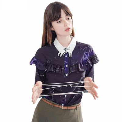 Galaxy Unicorn Collar Chiffon Starry Space Shirt