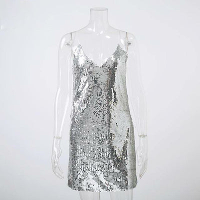 V-Neck Silver Sequined Dress