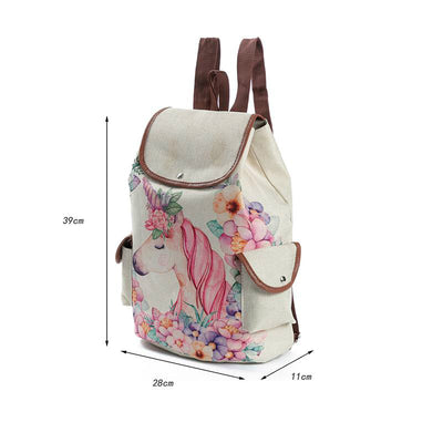 Floral Unicorn Linen Backpack