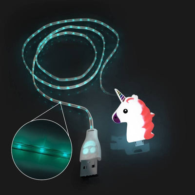 Glowing Rainbow Unicorn USB Charging Cable