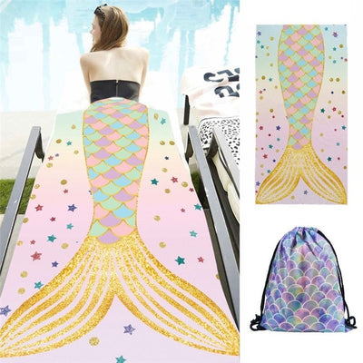Summer Mermaid Beach Towel Set (With FREE Bag)