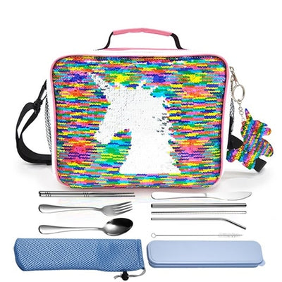 Reversible Rainbow Sequin Unicorn Insulated Lunch Box Bag