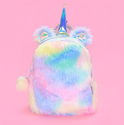 [LIMITED EDITION] Mini Rainbow Plush Unicorn Hologram Backpack