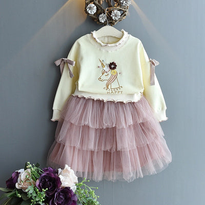 Unicorn Girl Princess Skirt Set
