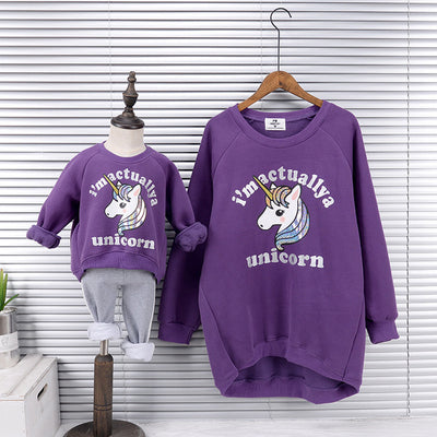 Iridescent Unicorn Mother Daughter Matching Sweater
