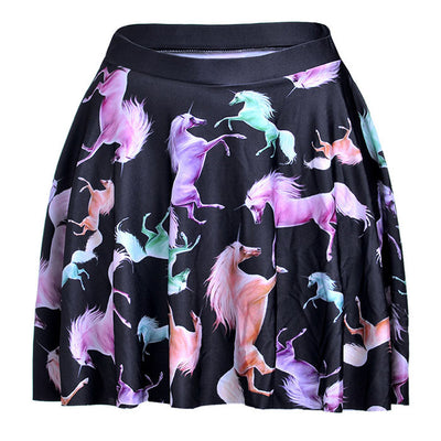 Rainbow Unicorn  Printed  Mini Skirt