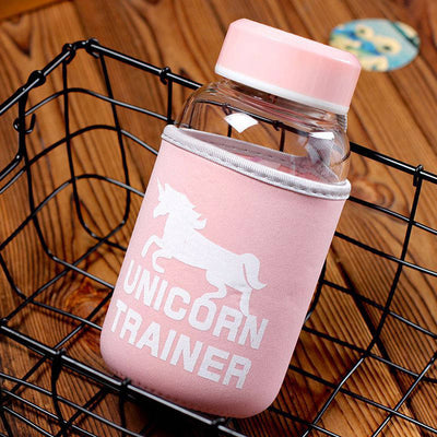 Unicorn Glass Water Bottle