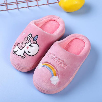 Unicorn Toddles/Kids Fur Slippers