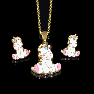 Golden Unicorn Necklace Earrings Set