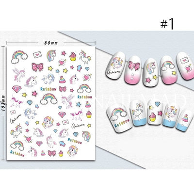 Rainbow Unicorn Nail Art Stickers