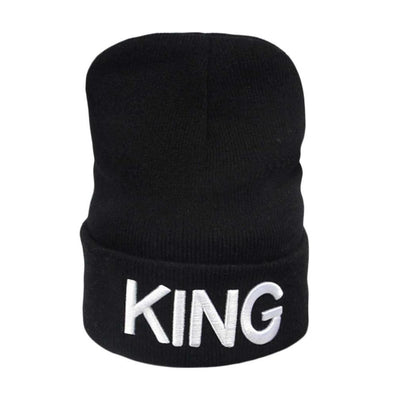 Gold/White Letter King Queen Winter Beanie