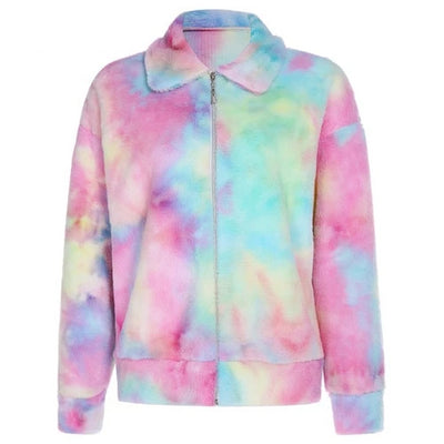 Comfy Rainbow Furry Jacket & Cropped Sweatshirt