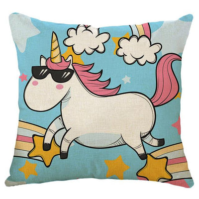 Multicolored Unicorn Linen Cushion Cover