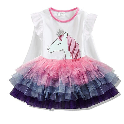 Unicorn Long Sleeve Multi-color Tutu Dress
