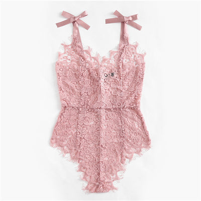 Pink Floral Lace V-Neck Rompers