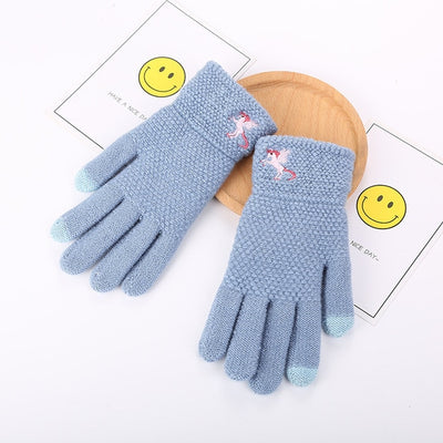 Warm Unicorn Knitted Gloves