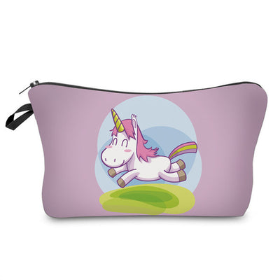 Pink Running Unicorn Makeup Bag