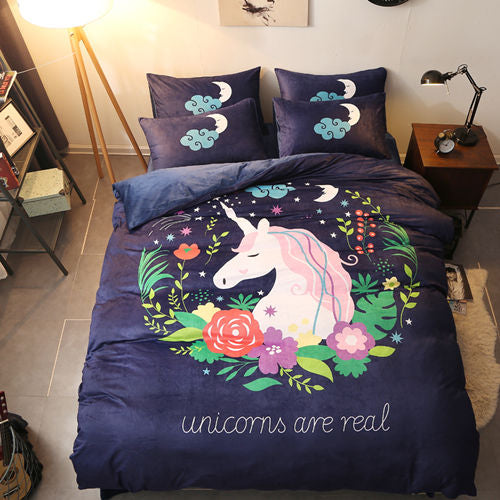 Navy Unicorns Are Real Bedding Set Well Pick