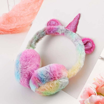 Rainbow Plush Glitter Horn Unicorn Earmuffs