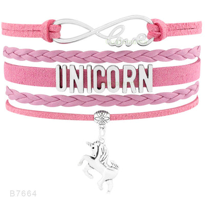 Unicorn Infinity Love Leather Bracelet