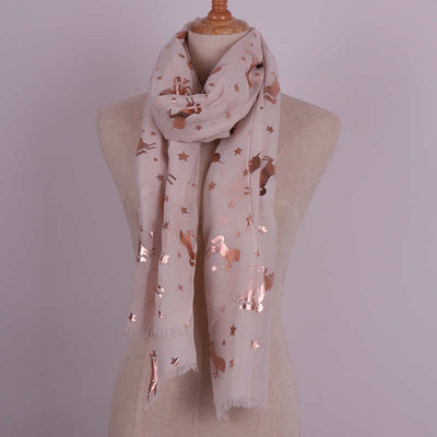 Luxury Bronze Print Unicorn Scarf