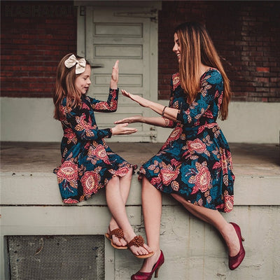 Floral Mom and Daughter Mini Dress