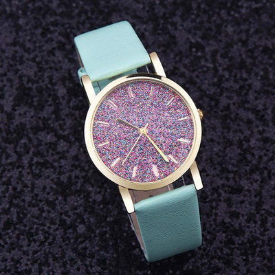 Leather Starry Rhinestones Watch