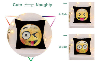 Magical Emoji Changing Face Sequin Pillow