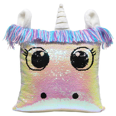 Unicorn Big Eyes Sequin Pillow Cover