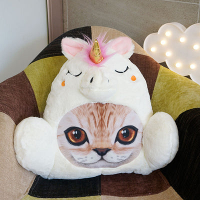 Fluffy Unicorn Cat Face Cushion