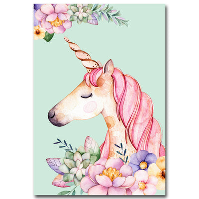 Floral Unicorn Flamingo Wall Art