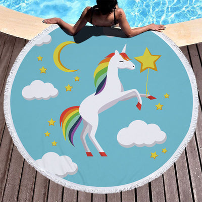 Unicorn Round Towel Blanket