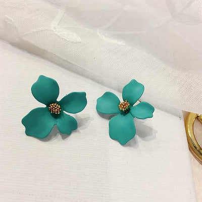Paint Big Flower Stud Earrings