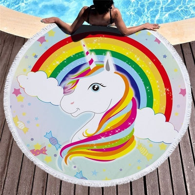 Colorful Unicorn Round Beach Towel - Well Pick Review