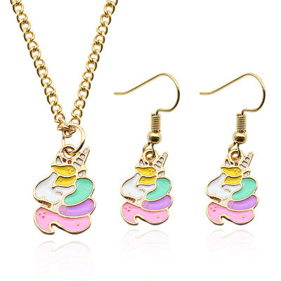 Colorful Unicorn Necklaces Earrings Set - Well Pick Review