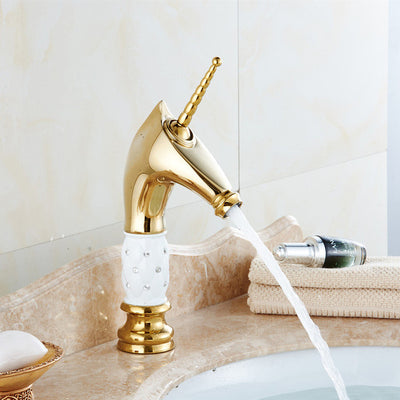 Golden Horn Unicorn Faucets Crystal body