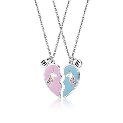 Best Friend Heart Unicorn Necklace