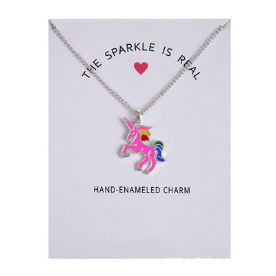 Real Unicorn Colorful Pendant Necklace