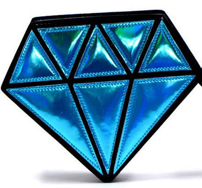 Geometric 2-Color Hologram Diamond Chain Bag
