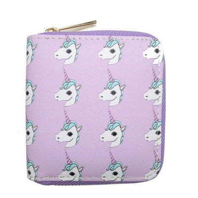 Purple Red Pink Crazy Unicorn Lady Print Clutch Wallets