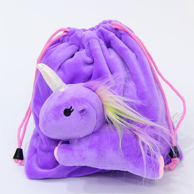 Fluffy Unicorn Functional Small Drawstring Bag