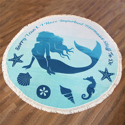 Mermaid Rainbow Round Beach Towels