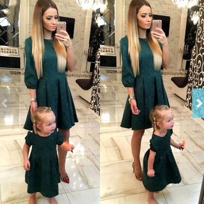Navy Green Mom & Daughter Dress