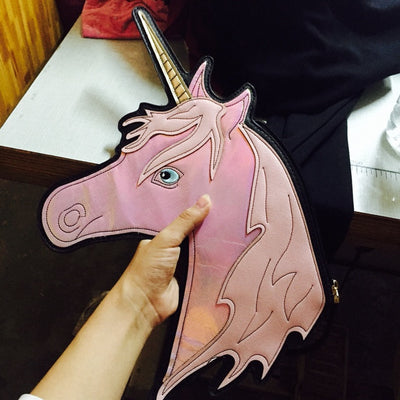 Holographic Unicorn Clutch Bag