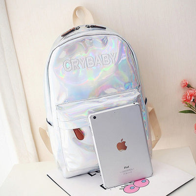 Letters Hologram Laser Backpack