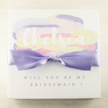 Personalized purple asking Bridesmaid box purple Bridesmaid gifts