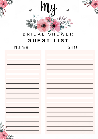 Bridal Shower Guest List - FREE Printable