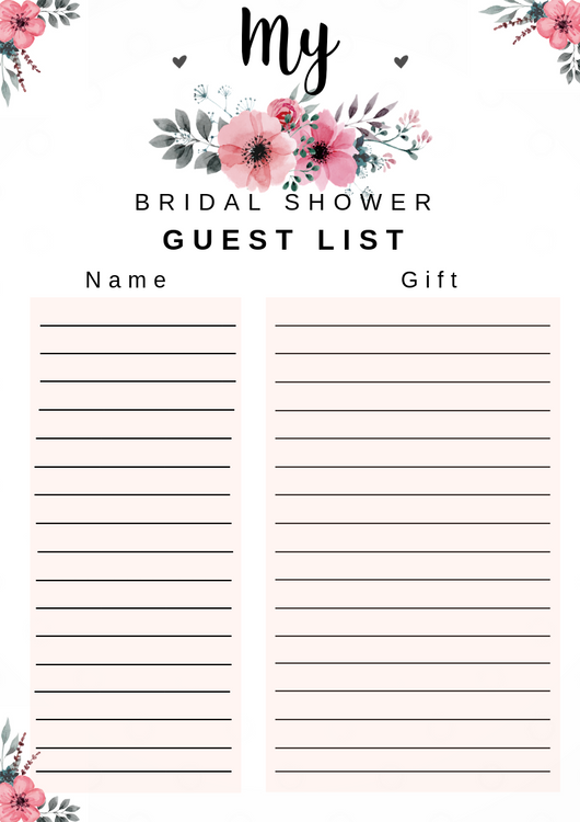 free printable bridal shower guest list by dressyourgift