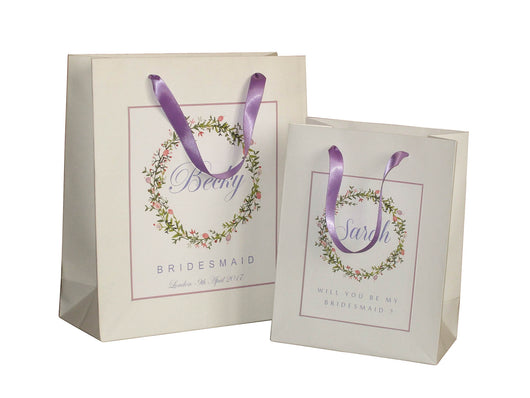 purple bridesmaid gift bags